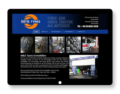 Website for Tyre Shop in Northern Ireland